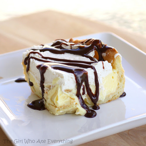 This Eclair Cake has a cream puff crust, vanilla cream cheese layer ...
