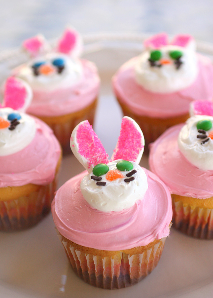 Two Easter Cupcakes Bunny And Flower Cupcakes The Girl