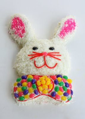Easter Bunny Cake made with jelly beans