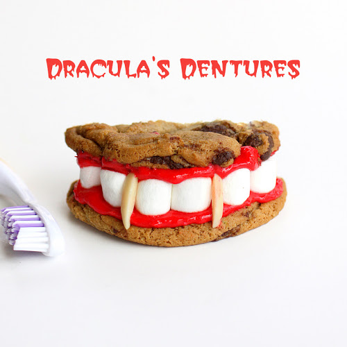 These Dracula Dentures are clever and tasty. This is a recipe that's not only fun to look at but good to eat. #dracula #dentures #halloween #cookies