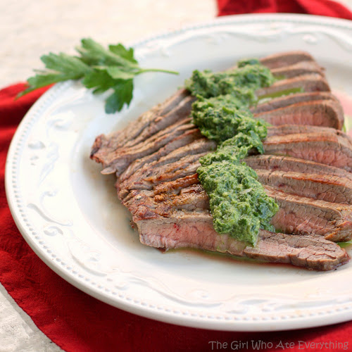This Skinny Cumin Steak with Chimichurri Sauce is light and delicious!