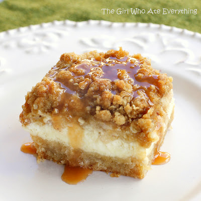A piece of Apple Caramel Cheesecake Bars on a white plate