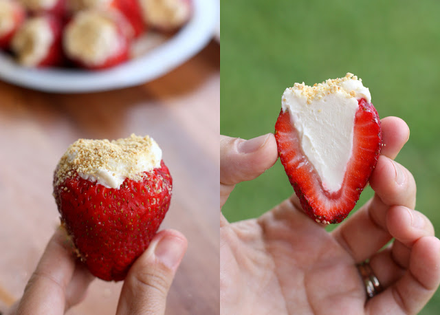 Cheesecake Stuffed Strawberries - fresh strawberries stuffed with a cream cheese filling and sprinkled with graham crackers. the-girl-who-ate-everything.com