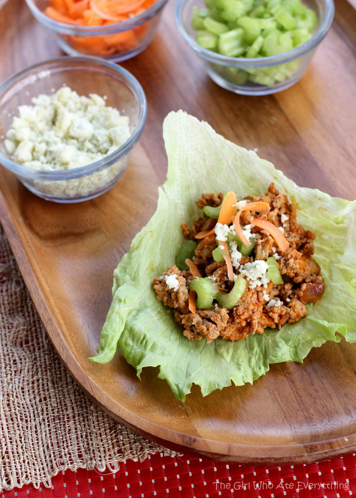Buffalo Chicken Lettuce Wraps With Celery And Blue Cheese Recipe ...