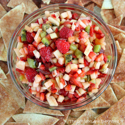 This Fruit Salsa is a sweet salsa made from diced fruit and served with cinnamon chips. This will be a hit at your baby shower or any get together. the-girl-who-ate-everything.com