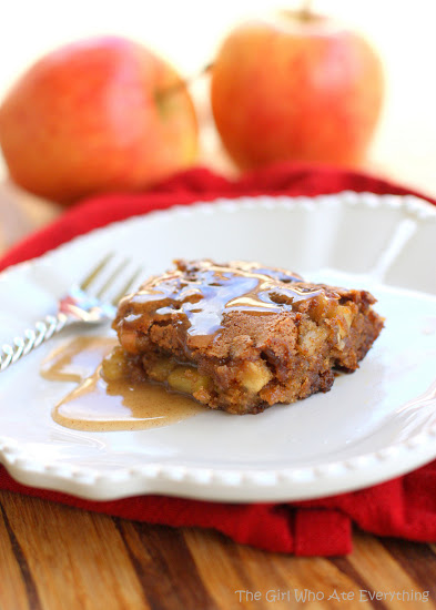This Apple Pudding Cake With Cinnamon Butter Sauce is a perfect fall dessert. the-girl-who-ate-everything.com
