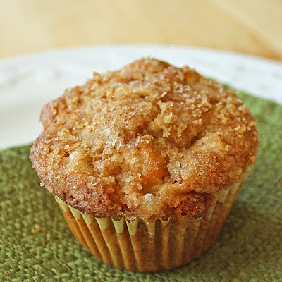 apple muffin on a green napkin