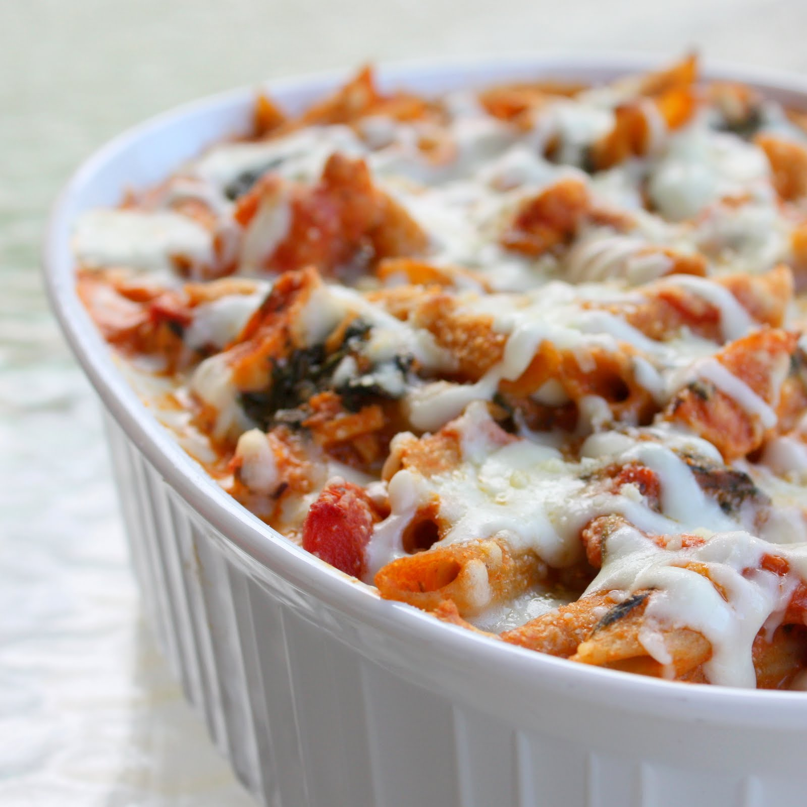Healthy Three-Cheese Chicken Penne Pasta Bake - The Girl Who Ate ...