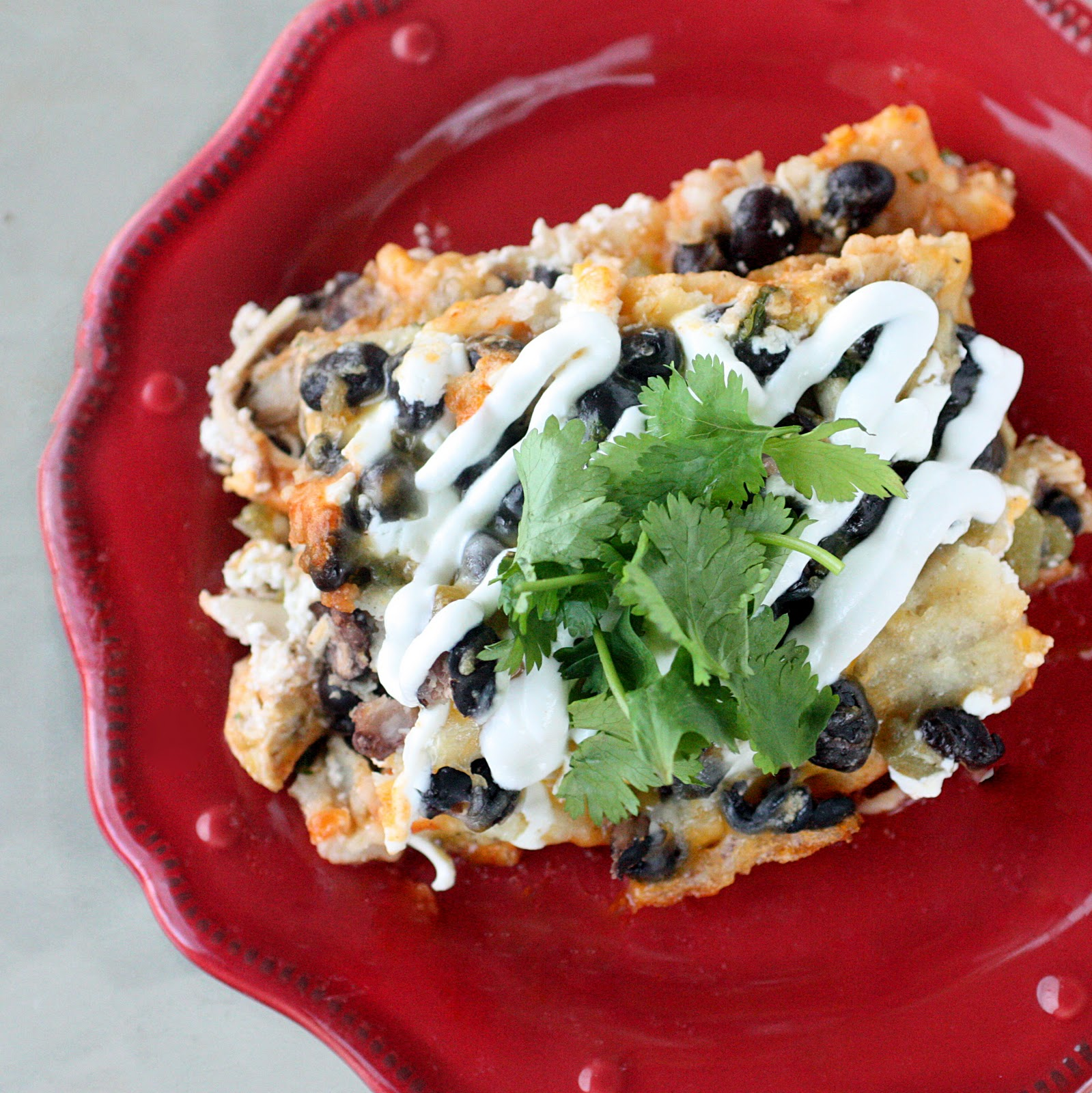 Chicken And Black Bean Casserole Layers Of Corn Tortillas Black Beans Enchilada Sauce
