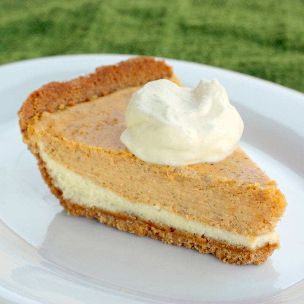 Double Layer Pumpkin Cheesecake - a layer of cheesecake topped with a ...