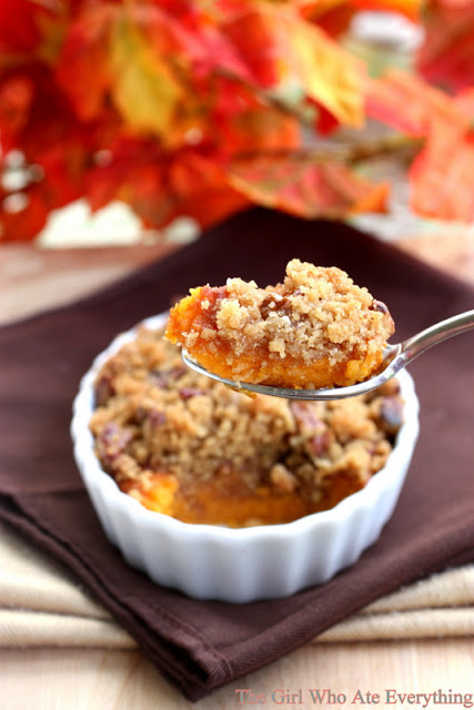 These Ruth's Chris Sweet Potato Casserole is creamy and topped with a brown sugar pecan crust just like they are at Ruth's Chris Steakhouse. One of our family favorites, this will turn even non-sweet potato lovers into avid fans. the-girl-who-ate-everything.com